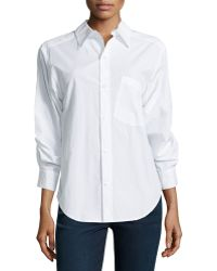 Donna Karan New York Cotton Shirt With Rolled Sleeve Detail - Lyst