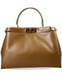 Fendi Handbag Bag Peekaboo Medium Leather With Inside Contrast Pequin Inside - Lyst