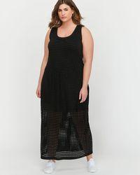 Addition Elle - L&l Maxi Tank Dress With Mesh Bottom - Lyst