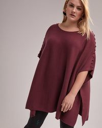 Addition Elle - Poncho Sweater With Bold Saddle Stitch Shoulders - L&l - Lyst