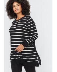 Addition Elle - Mixed Fabric Sharkbite Hem Sweater - L&l - Lyst