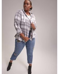 Addition Elle - Plaid Blouse With Hood - D/c Jeans - Lyst