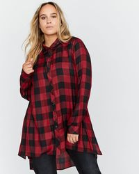Addition Elle - Checkered Tunic Blouse - L&l - Lyst