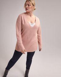 ed6e00ba20ff9 Addition Elle - Deep V-neck Tunic Sweater With Side Slits - L l - Lyst