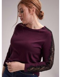 e1ec9909bfe Addition Elle - Long Sleeve Crew-neck Sweater With Lace Details - Michel  Studio -