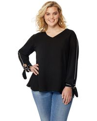 Addition Elle - Rebel Wilson Piped Blouse With Cuff Details - Lyst