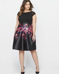 Addition Elle - Michel Studio Short Sleeve Patterned Fit & Flare Party Dress - Lyst