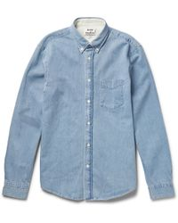 Acne Studios Isherwood Button-Down Collar Washed-Denim Shirt - Lyst