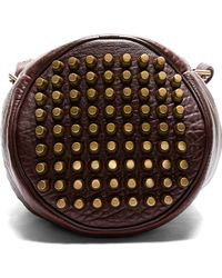Alexander Wang Burgundy Leather Studded Diego Bucket Bag - Lyst