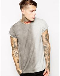 Asos T-Shirt with Vertical Spray Effect and Roll Sleeve - Lyst