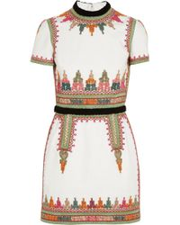 Valentino Embroidered Cottoncanvas Mini Dress - Lyst