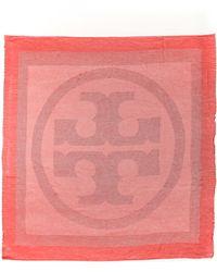Tory Burch Mixed Woven Logo Scarf - Geranium - Lyst