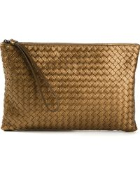 Bottega Veneta Brown Intrecciato Clutch - Lyst
