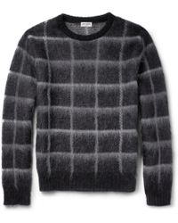 Saint Laurent Check Mohairblend Sweater - Lyst