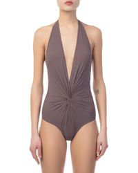 Karla Colletto - Basics Plunge Grey One Piece - Lyst