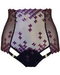 Bordelle - Square Lace High Waist Purple Brief - Lyst