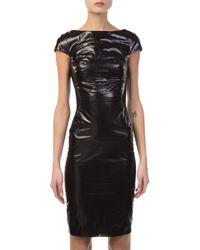 b7cad56beb Gareth Pugh - Glossy Leather And Jersey Mini Dress - Lyst