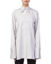 Helmut Lang - Grey And White Striped Shirt - Lyst