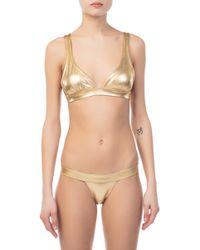 Norma Kamali - 17 Banded Gold Bikini Top - Lyst