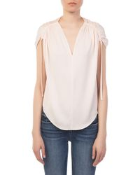 Vince - Ruched Stretch Silk V Neck Top - Lyst