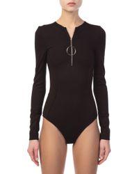 Mugler - Zipped Black Bodysuit - Lyst