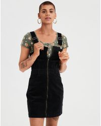 518873f1758 Lyst - Charlotte Russe Corduroy Overall Jumper in Black