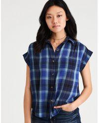 American Eagle - Ae Plaid Short Sleeve Boyfriend Shirt - Lyst