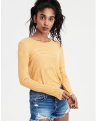 7a29b81c1ac779 Lyst - American Eagle Soft   Sexy Cold Shoulder Tie-sleeve T-shirt ...