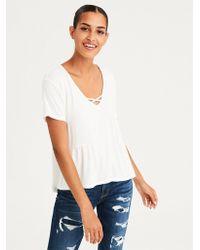 American Eagle - Ae Shirred Side V-neck T-shirt - Lyst