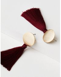 American Eagle - Gold And Red Fabric Tassel Earring - Lyst