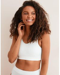 c775d10673 Lyst - American Eagle Chill Sunflower Lace Sports Bra in Gray