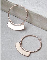 American Eagle - Rose Gold Hoop Plate Earrings - Lyst