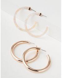 American Eagle - Pink Tort & Metal Hoop Earring 2-pack - Lyst