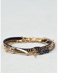American Eagle - Black & Gold Arm Party Bracelets - Lyst