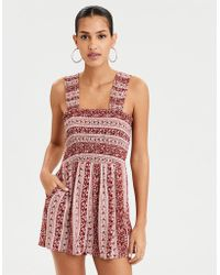 fa6b33c5134f Lyst - American Eagle Crochet Romper in Natural