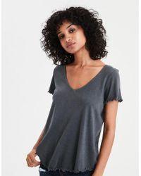 American Eagle - Ae V-neck Lettuce Hem T-shirt - Lyst