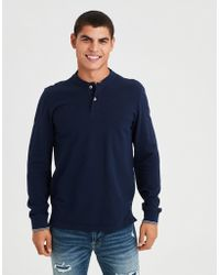 American Eagle - Ae Stretch Pique Long Sleeve Henley Polo - Lyst