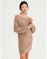 6fa23c534d1 Lyst - American Eagle Ae One Shoulder Boucle Sweater Dress in Blue