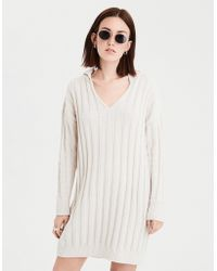 American Eagle - Ae Ribbed Hooded Sweater Dress - Lyst