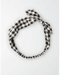 American Eagle - Ae Black Gingham Bow Headband - Lyst