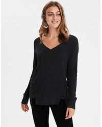 American Eagle - Ae Side Lace-up V-neck Pullover Sweater - Lyst e77a12c60