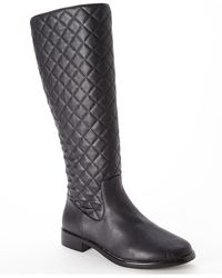 Aerosoles Black Quilted Riding Boots - Lyst