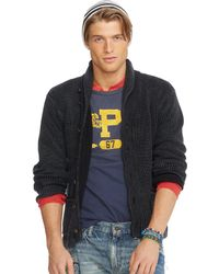 Ralph Lauren Cotton Shawl Cardigan - Lyst