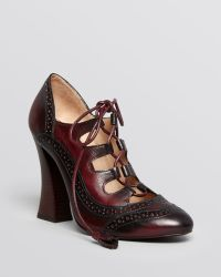 Tory Burch   Astrid High Heel Lace Up Ghillie Oxford Pumps - Lyst
