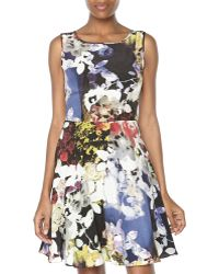 Rachel Roy Multicolor Floral Print Drape Top Dress - Lyst