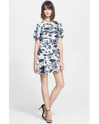 Rachel Zoe 'Nile' Print Silk Drop Waist Dress blue - Lyst