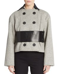 Atto - Leather-trim Double-breasted Coat - Lyst