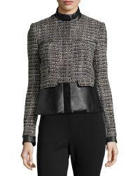 Catherine Catherine Malandrino Faux-Leather Trim Tweed Jacket - Lyst