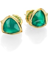 Ila & I - Perrian Green Onyx & 14K Yellow Gold Earrings - Lyst