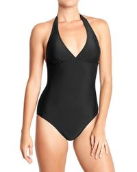 Old Navy Black Halter Swimsuits - Lyst